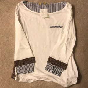 NWT Anthropologie White business cas top. Size M